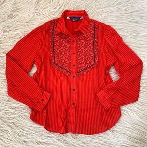 VTG panhandle red western bin paisley shirt top